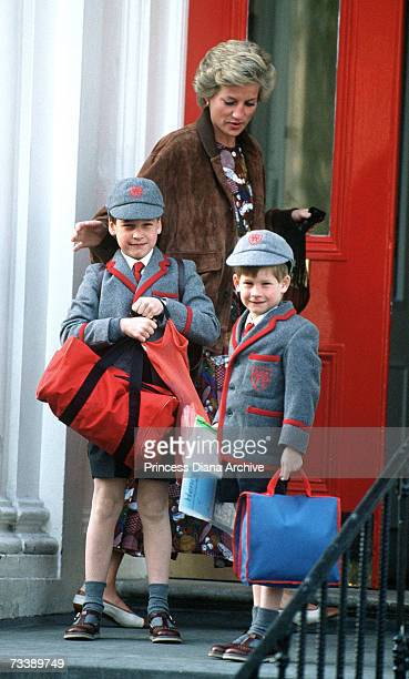 The Princess of Wales outside Wetherby School in London with her sons William and Harry April 1990