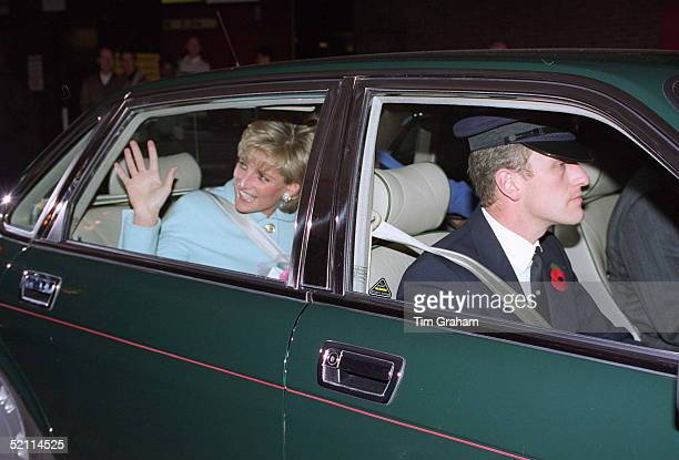 The Princess Of Wales Patron Help The Aged Arriving At The London Hilton To Present The 1995 Tunstall Golden Awards
