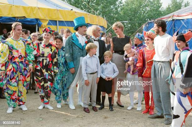 The Princess of Wales Princess Diana along with her songs William and Harry enjoy the day at Le Cirque du Soleil the Children's Circus Picture taken...