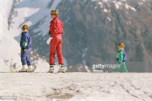 The Princess of Wales, Princess Diana, and her sons William and Harry on a ski holiday to Switzerland. Prince Charles is to join them after he has...
