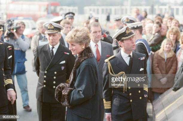 The Princess of Wales Princess Diana and Prince Charles The Prince of Wales visit Devonport Plymouth Devon to meet families of the troops who are in...