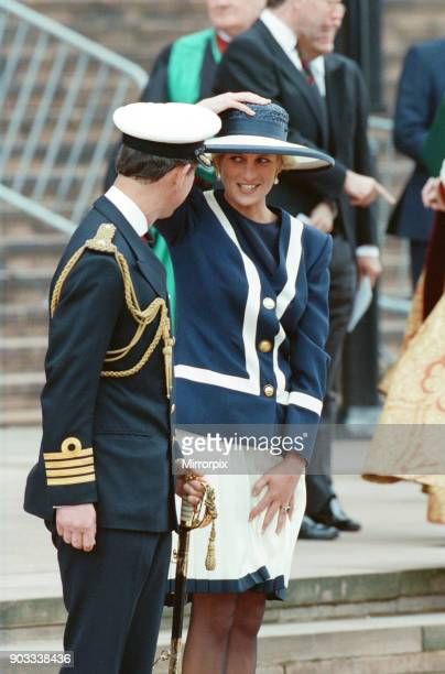 The Princess of Wales, Princess Diana, and The Prince of Wales, Prince Charles visit Liverpool For The Battle Of The Atlantic Service. The 50th...