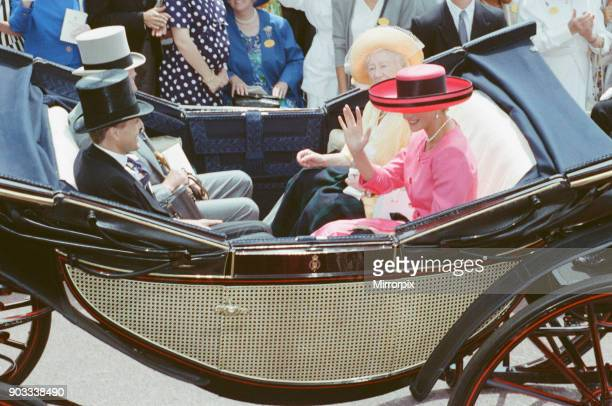 The Princess of Wales Princess Diana and The Queen Mother enjoy the day and a carriage ride at Ascot Races Ascot Surrey England Picture taken 17th...