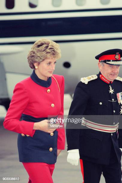 The Princess of Wales Princess Diana arrives at Ringway Manchester Airport Picture taken 20th October 1993