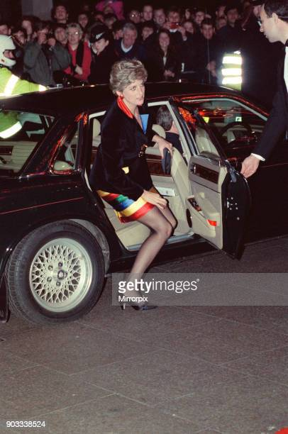 The Princess of Wales Princess Diana arrives at the Empire Ballroom Leicester Square for a charity concert performed by The Chicken Shed Theatre The...