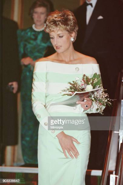 The Princess of Wales Princess Diana arrives at the West End Odeon in Leicester Square for the premiere of The Accidental Hero in aid of MENCAP to...