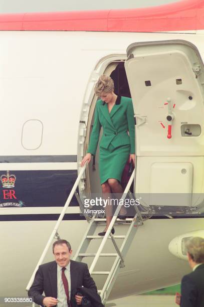 The Princess of Wales Princess Diana arrives in Yorkshire today on the The Queens Flight The BAe 146 aeroplane The Princess of Wales' first...