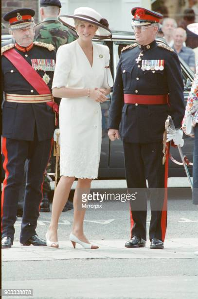 The Princess of Wales Princess Diana at Portsmouth for a ceremony celebrating the safe return of the Royal Hampshire Regiment from the Gulf War The...