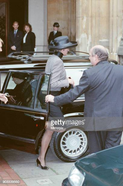 The Princess of Wales Princess Diana attends a memorial service for her friend who recently died of AIDS He is ex Royal Ballet governor Adrian Ward...