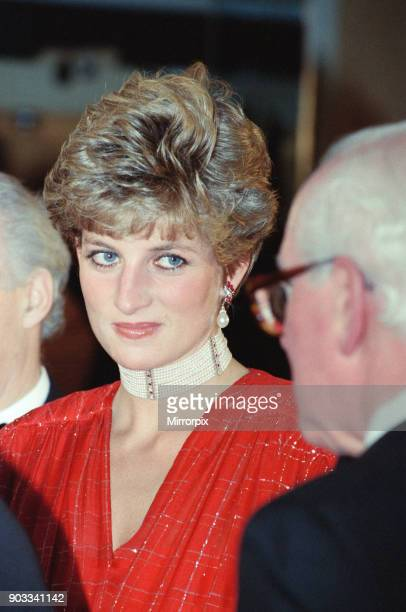 The Princess of Wales Princess Diana attends the Odeon Leicester Square premiere of the film Hot Shots starring Charlie Sheen The Princess brought...