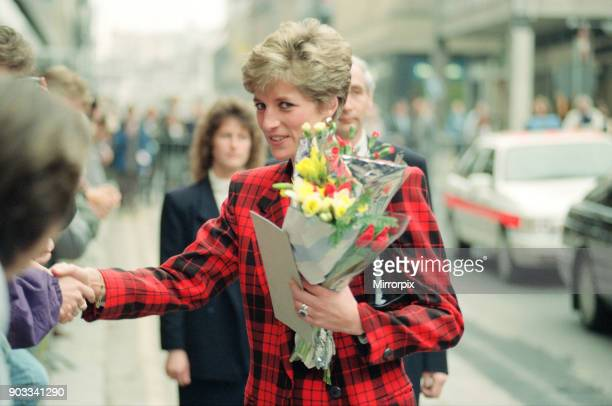 The Princess of Wales Princess Diana dressed in tartan on a walkabout in Manchester where she visited the Manchester Art Gallery in Moseley Street...