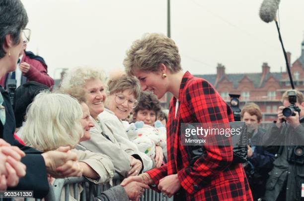 The Princess of Wales Princess Diana dressed in tartan on a walkabout in Manchester See other Mirrorpix frames by photographer Andy Stenning where on...