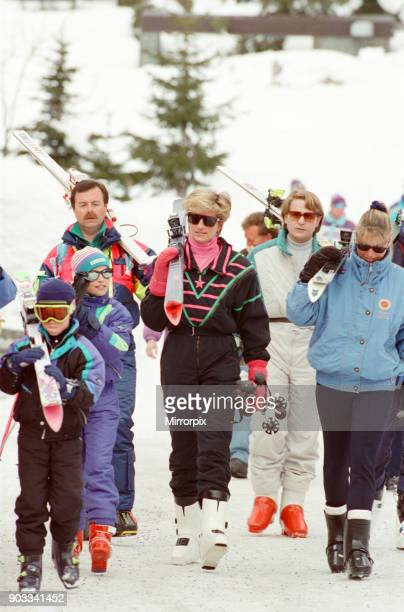 The Princess of Wales Princess Diana enjoys a ski holiday in Lech Austria Prince William and Prince Harry join her for the trip and are pictured on...