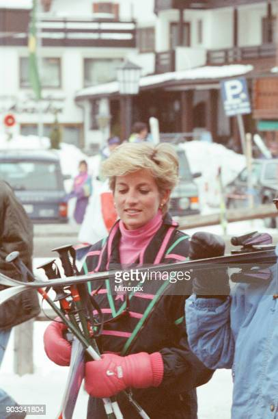 The Princess of Wales Princess Diana enjoys a ski holiday in Lech Austria Prince William and Prince Harry join her for the trip Picture taken circa...