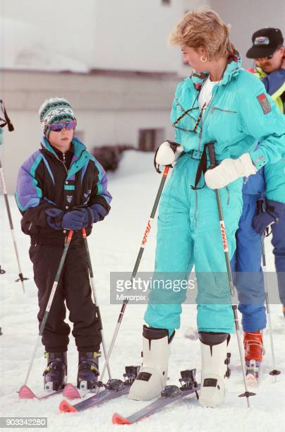 The Princess of Wales Princess Diana enjoys a ski holiday in Lech Austria Prince William and Prince Harry join her for the trip Prince Harry is...