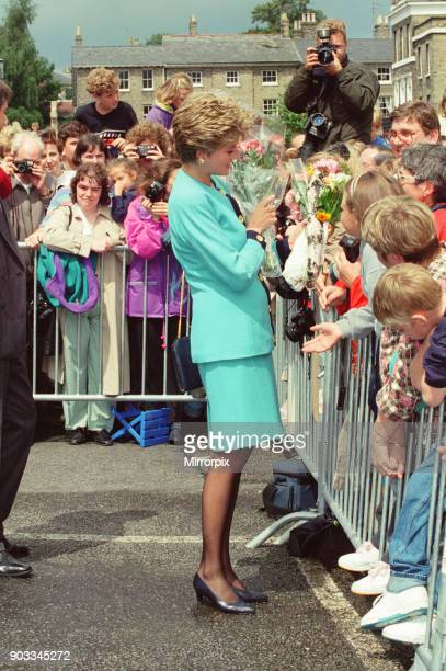 The Princess of Wales Princess Diana meets to locals of Bury St Edmunds Suffolk on a walkabout after she'd spent time visiting patients at St...
