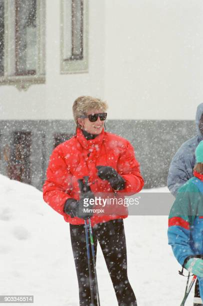 The Princess of Wales Princess Diana on he ski holiday to Lech Austria The Princess enjoyed her skiing holiday with her sons Prince William and...