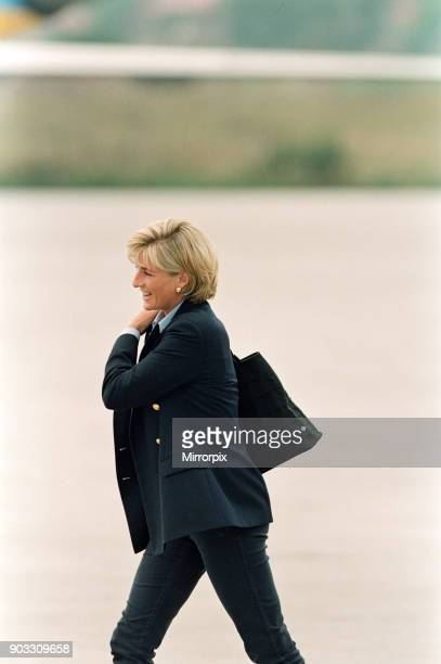 The Princess of Wales, Princess Diana, on her arrival at Sarajevo airport Friday, 8th August 1997 at the start of her two-day tour to publicise the...