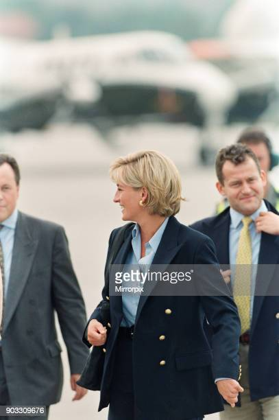 HRH The Princess of Wales Princess Diana on her arrival at Sarajevo airport Friday 8th August 1997 at the start of her twoday tour to publicise the...