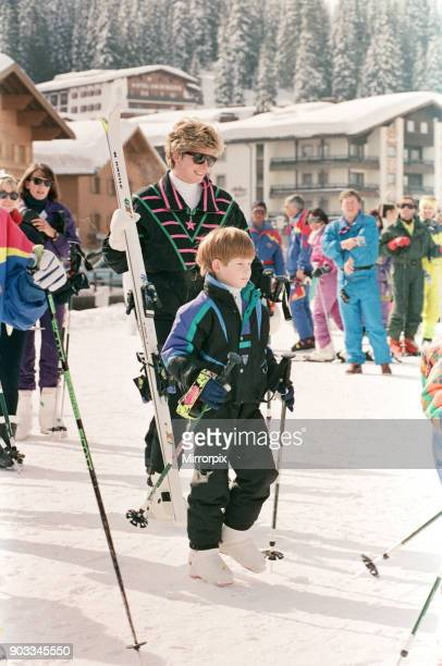 The Princess of Wales Princess Diana on her skiing holiday at The Austrian Ski Resort Of Lech Austria Pictured with the Princess is Prince Harry...