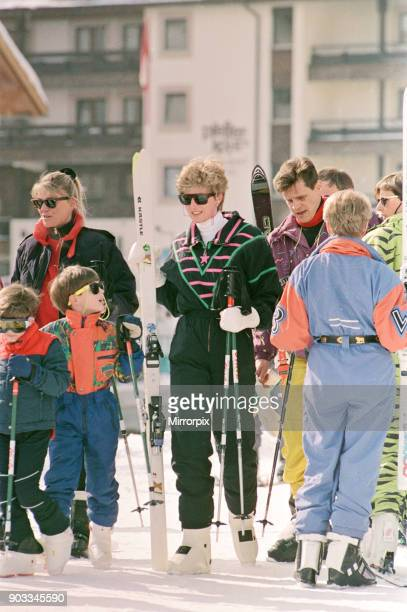 The Princess of Wales Princess Diana on her skiing holiday at The Austrian Ski Resort Of Lech Austria Pictured with the Princess is Prince William...