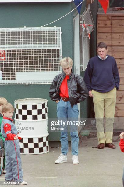The Princess of Wales Princess Diana takes her sons Prince William and Prince Harry and a few of their friends gokarting at Buckmore Park racing...