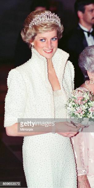 The Princess of Wales, Princess Diana visit To Hong Kong as part of their Far East tour, Princess Diana wears a diamond coronet and pearls a studded...