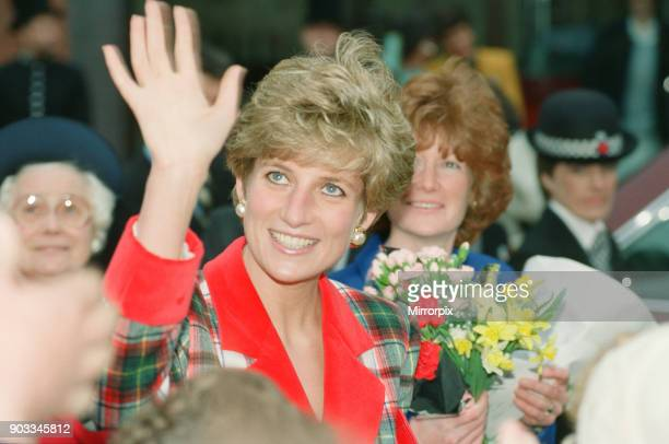 The Princess of Wales Princess Diana visits Didsbury and Wigan in the North West of England Pictured behind her in blue is her sister Lady Sarah...