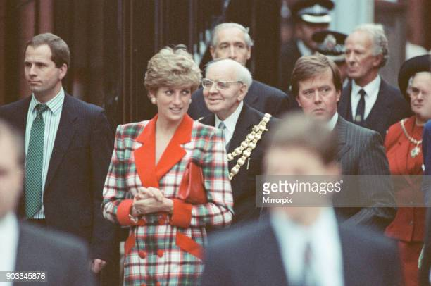 The Princess of Wales Princess Diana visits Didsbury and Wigan in the North West of England The Princess is pictured here opening The Galleries...
