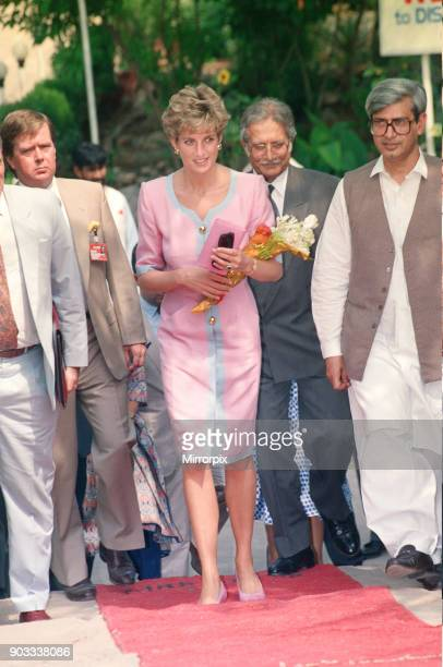 The Princess of Wales Princess Diana visits Islamabad Pakistan in September 1991 Ken Wharfe Diana's bodyguard is behind the Princess in the beige...