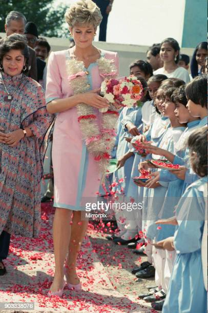 The Princess of Wales, Princess Diana visits Pakistan in September 1991 In this picture she visits a school during a visit to Islamabad, Pakistan....