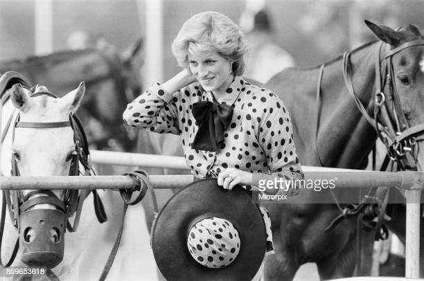 The Princess of Wales Princess Diana watches Prince Charles playing Polo Picture taken 19th June 1986