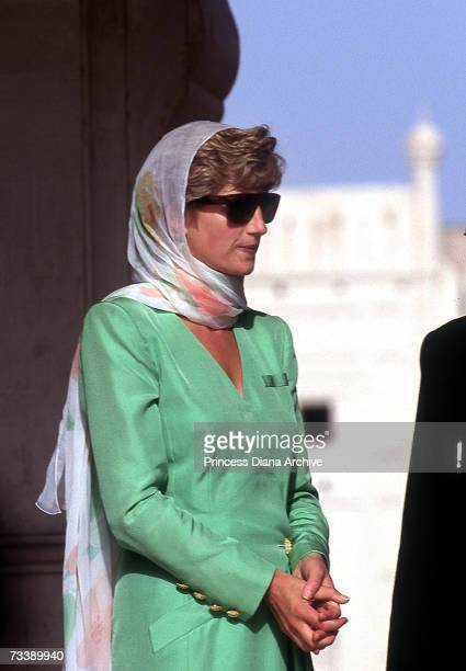 The Princess of Wales stands next to Abdul Qadir the khatib of the mosque during a visit the Badshahi Mosque in Lahore September 1991 She is wearing...