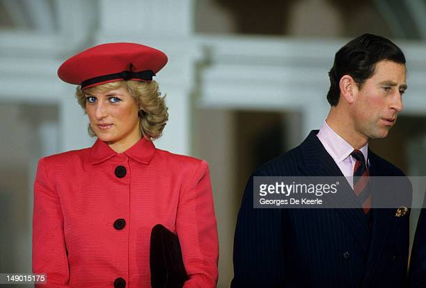 The Princess of Wales stands next to her husband, Charles the Prince of Wales, during a function held in their honor February 11, 1987 in Bonn,...