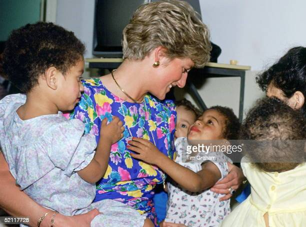 The Princess Of Wales Visiting A Hostel For Abandoned Children In Sao Paulo Brazil Many Of Them Hiv Positive Or Suffering From Aids