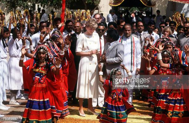 The Princess of Wales visiting Lallapet High School in Hyderabad India February 1992 Diana is wearing a Catherine Walker dress