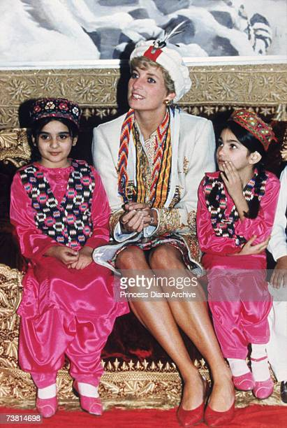The Princess of Wales visits the Chitral Scouts during a trip to Pakistan, September 1991.