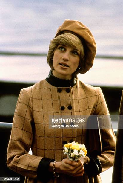 The Princess of Wales visits Twyn in Wales November 1982 She wears a suede beret by John Boyd and a coatdress by Arabella Pollen