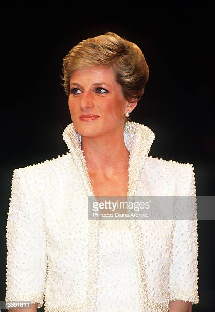 The Princess of Wales wearing a beaded Catherine Walker gown and matching bolero attending the British Fashion Awards at the Albert Hall London...