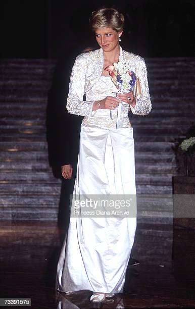 The Princess of Wales, wearing a Victor Edestein gown, attending a gala dinner at the Wintergarden in New York, February 1989.