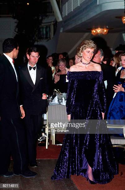 The Princess Of Wales Wearing An Evening Dress Designed By Bruce Oldfield Which Featured As Lot No 73 At The Auction Of Her Dresses At Christies In...
