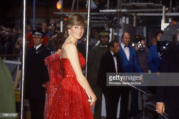 The Princess of Wales wears a Bellville Sassoon dress to the London premiere of the Bond film 'For Your Eyes Only', 24th June 1981.