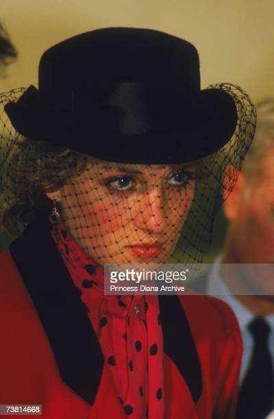 The Princess of Wales wears a black veiled hat to the Birthright Centre in Sheffield Hospital, April 1986.