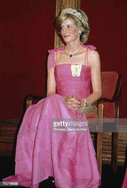 The Princess of Wales wears a pink Victor Edelstein dress and the Spencer tiara to a state reception in Brisbane 11th April 1983