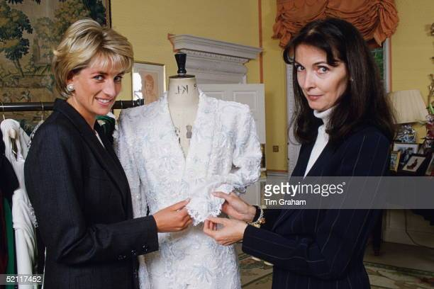 The Princess Of Wales With Fashion Designer, Catherine Walker Inside Kensington Palace