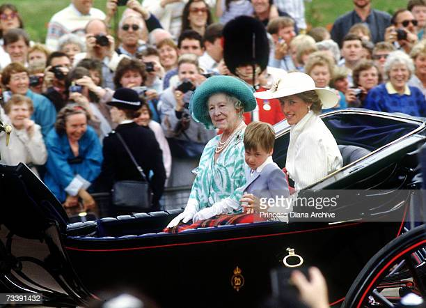 The Princess of Wales with her son Prince William and The Queen Mother during the trooping of the colour in London June 1987 The Princess is wearing...