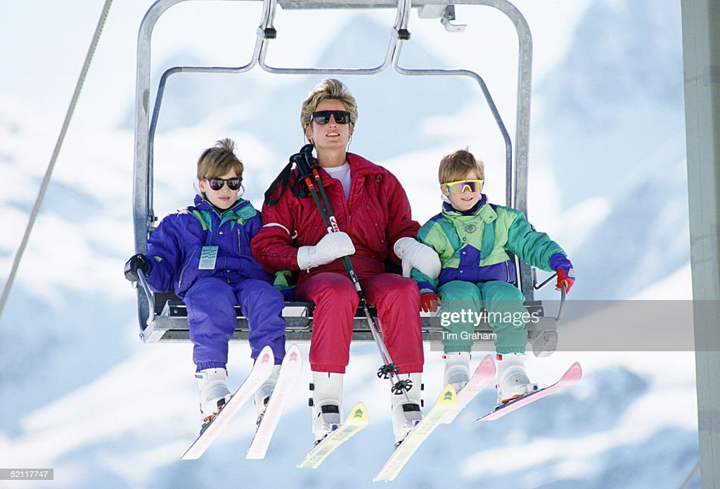 The Princess Of Wales With Her Two Sons, Prince William And Prince Harry On A Chair-lift During A Ski Hloiday In Lech, Austria