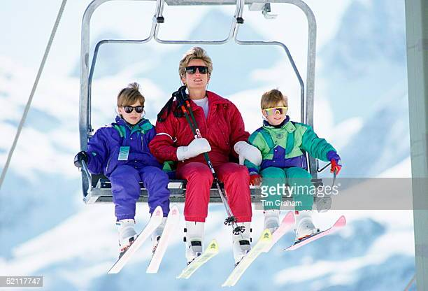 The Princess Of Wales With Her Two Sons Prince William And Prince Harry On A Chairlift During A Ski Hloiday In Lech Austria