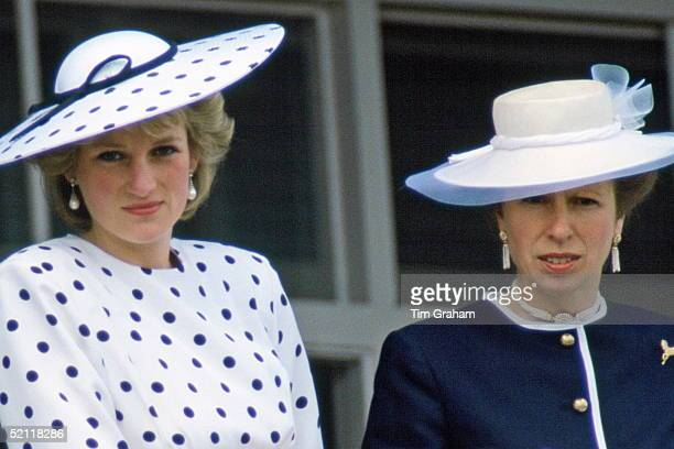 The Princess Of Wales With Princess Anne Watching The Derby In Epsom Surrey