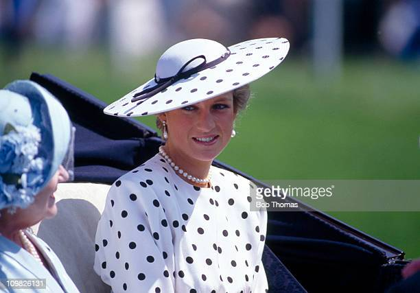 HRH The Princess of Wales with Queen Elizabeth The Queen Mother arrives at Ascot in June 1988